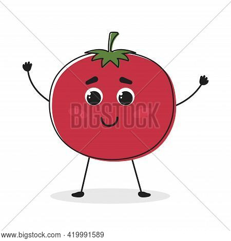 Tomato. Cartoon Drawing Style. Cute Funny Vegetable. Vector Illustration For Menu, Packaging, Logos,