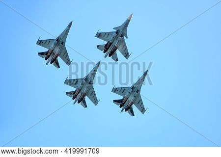 Abakan, Russia - August 26, 2018: Fighter Aircrafts Taking Off In The Sky.