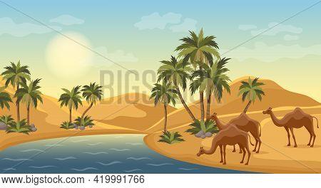 Desert Oasis With Palms Nature Landscape Scene Illustration. Egypt Hot Dunes With Palm Trees, Bedoui