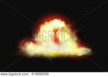 Explosion Of Fire, Flame Blast, Burst Of Bomb Realistic 3d Effect On Black Background. Vector Pyro F