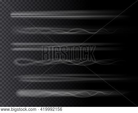 Smoke Air Trail Set Isolated 3d Effects On Transparent Background. Vector Rocket, Plane Jet Or Airpl
