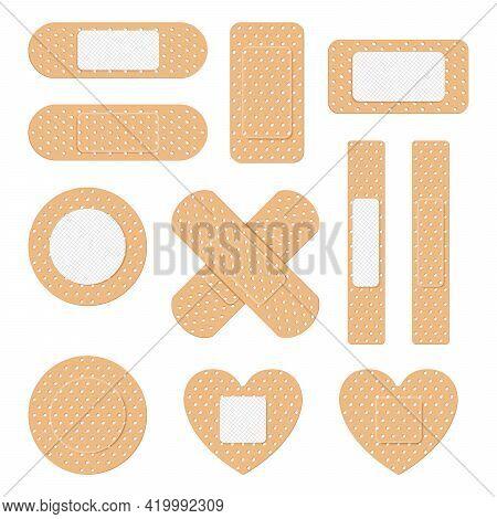 Adhesive Plaster. Creative Vector Illustration Of Adhesive Bandage Elastic Medical Plasters Set Isol