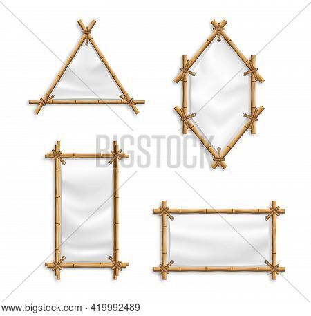 Bamboo Frame Set Vector With Canvas. Old Billboard Isolated Vector Set. Illustration Of Bamboo Frame