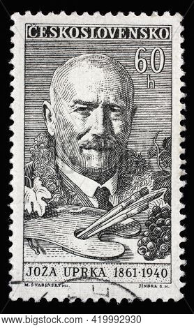 ZAGREB, CROATIA - SEPTEMBER 18, 2014: Stamp printed in Czechoslovakia shows Joza Uprka (1861-1940), painter, Culture and Science Personalities series, circa 1961