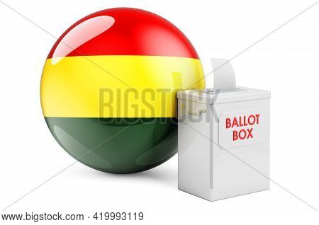 Ballot Box With Bolivian Flag. Election In Bolivia. 3d Rendering Isolated On White Background