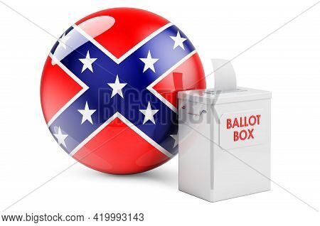 Ballot Box With Confederate States Of America Flag. 3d Rendering Isolated On White Background