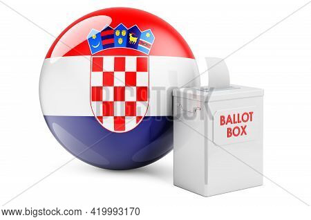 Ballot Box With Croatian Flag. Election In Croatia. 3d Rendering Isolated On White Background