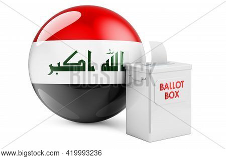 Ballot Box With Iraqi Flag. Election In Iraq. 3d Rendering Isolated On White Background