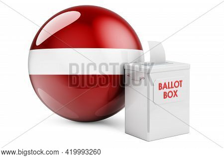 Ballot Box With Latvian Flag. Election In Latvia. 3d Rendering Isolated On White Background