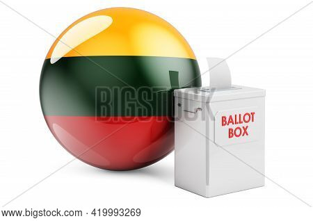 Ballot Box With Lithuanian Flag. Election In Lithuania. 3d Rendering Isolated On White Background