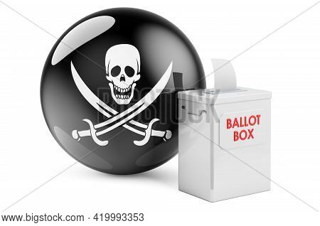 Ballot Box With Piracy Flag. 3d Rendering Isolated On White Background