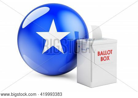 Ballot Box With Somali Flag. Election In Somalia. 3d Rendering Isolated On White Background