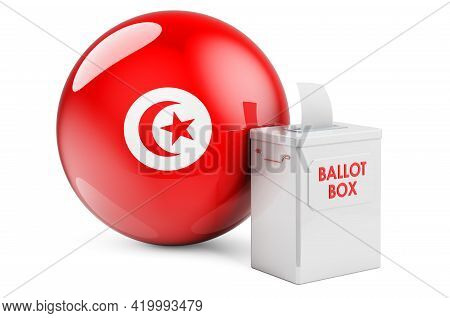 Ballot Box With Tunisian Flag. Election In Tunisia. 3d Rendering Isolated On White Background