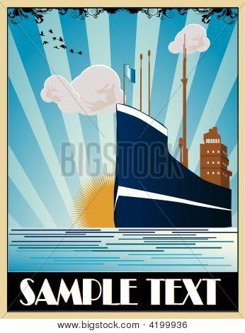 Art Deco Ship Vector