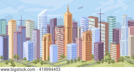 City Panorama, Skyscraper Offices, Real Estate Buildings, Road And Trees On Green Grass Flat Cartoon