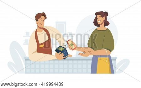 Contactless Pay, Woman Paying By Smartphone On Terminal, Flat Cartoon Vector Illustration. Supermark