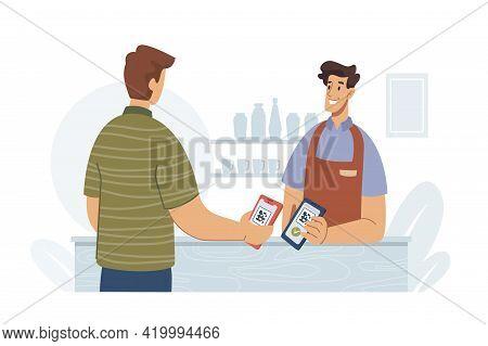 Man Paying By Smartphone Using Qr Code Flat Cartoon Vector Illustration. Modern Wireless Technologie