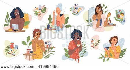 Beauty Girls Take Care Of Skin And Applying Cosmetics On Face Flat Cartoon Vector Illustrations Set.