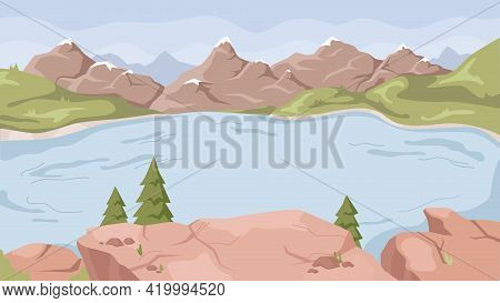 Rocky Mountains, Speed Rivers Streams Flat Cartoon Background. Vector Panorama Of Spring Summer Beau