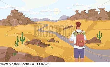 Travel In Sahara Desert, Man Traveler Observe Beautiful Landscape On Savanna, Rocky Mountains And Gr