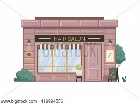 Hair Salon Barber Beauty Shop Isolated Flat Cartoon Building. Vector Hairdresser Small Business Reta