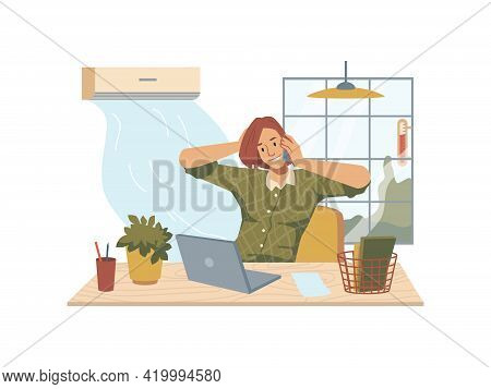 Woman Sitting At Table With Laptop, Flower Pot, Lamp And Window, Blowing Air Conditioner. Vector Bus