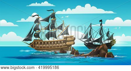 Landscape With Pirate Boats And Old Different Wooden Ships With Fluttering Flags Books, Brochure Lea