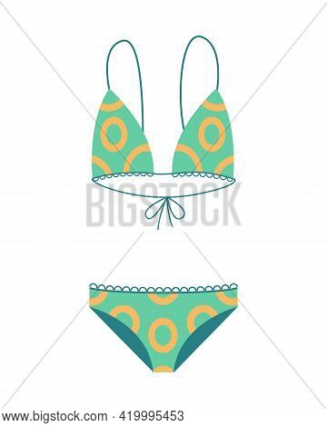 Fashion Swimsuit. Flat Icon Of Cartoon Trendy Female Beachwear. Two-piece Swimming Suit Or Bathing G