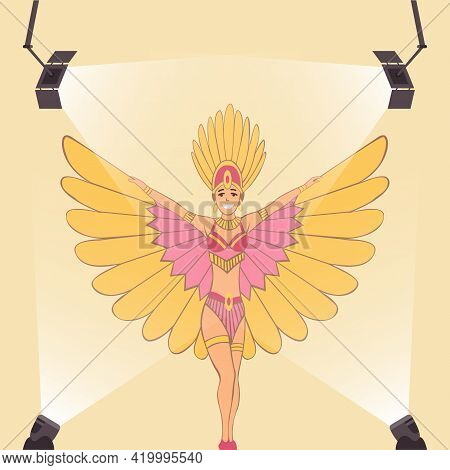 Television Show. Showgirl With Brazilian Style Carnival Costume. Carnaval Dancer. Cabaret Singer Or