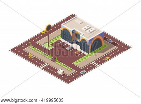 Isometric Supermarket Or Grocery Store Building And Street. Vector Isometric Icon Or Infographic Ele