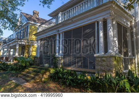 New Orleans, La - December 29: Shaded Front Of Rustic House In Uptown Neighborhood On December 29, 2