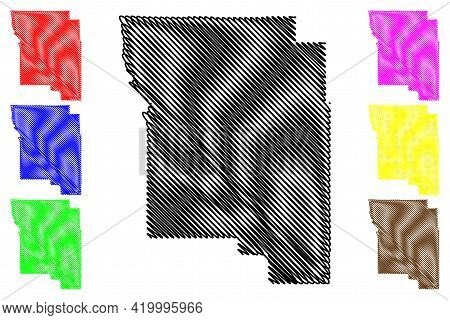 Wheeler County, Oregon State (u.s. County, United States Of America, Usa, U.s., Us) Map Vector Illus