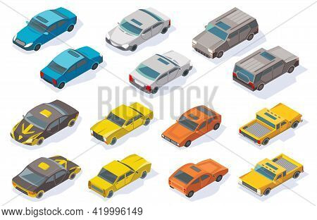 Isometric Cars Icons Collection. Vector Flat Colorful 3d Automobile Set. Urban Transport For Passeng