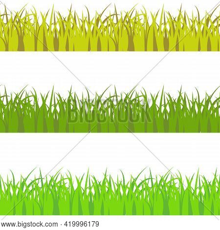 Vector Set Of 3 Vary Colors Seamless Pattern Grass. Light Green, Dark Green, And Yellow Savan Style