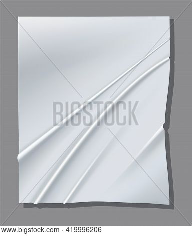 Realistic White Sheet Of Crumpled Paper. Vector Poster Mockup. Vector Illustration Of Wrinkled Paper