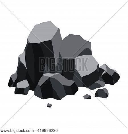Pile Of Coal. Fossil Stone Of Black Mineral Resources. Polygonal Shapes. Rock Stones Of Graphite Or
