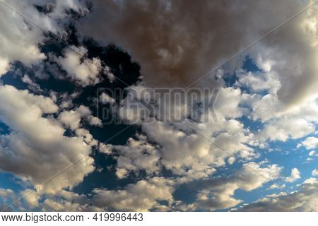 Panoramic View Of The Blue Sky With Clouds In Motion. View Of The Blue Sky With Clouds In Motion.nic
