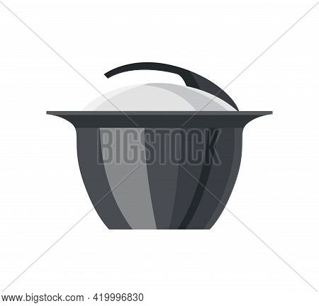 Cooking Pan Colorful Vector Illustration. Isolated Icon Of Saucepan For Soup, Cookware For Cooking.