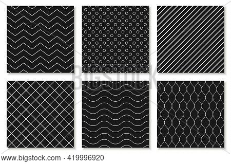 Collection Of Seamless Geometric Patterns, Covers, Cards - Black And White Repeatable Design. Fashio