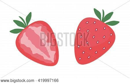 Strawberry, Whole And Cut Berries. Cute Flat Vector Illustration In Modern Style. Isolated On White