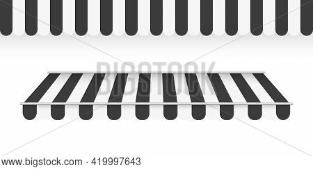 Black Awnings. Striped Awning. Tent Sun Shade For Market On White Background. Vector Illustration