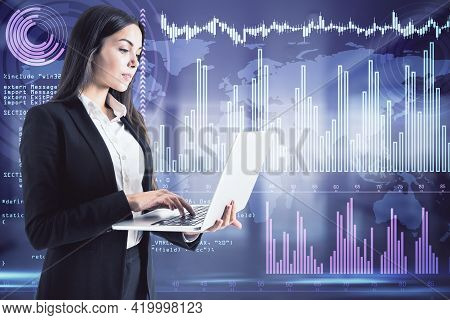 Businesswoman With A Laptop Standing And Analysing Multiple Charts In The Background, Data Analysis
