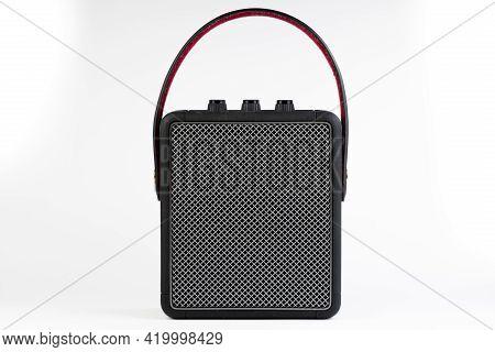 Black Bluetooth Loudspeaker Isolated On White Background
