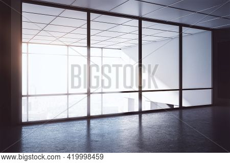 Empty Dark Office Room With Big Windows, Corner View, Interior Design And Meeting Room Concept, 3d R