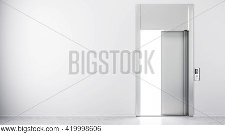 Blank Light Wall And Open Elevator Doors In Abstract Hall. 3d Rendering, Mockup