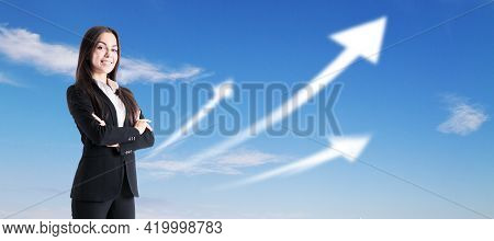 Ambition And Career Concept With Joyful Businesswoman On Blue Sky Background With White Growing Arro