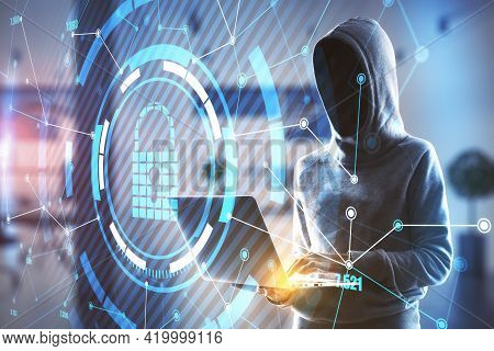 Antivirus And Data Protection Concept With No Face Person In Sport Suit With Laptop In Front Of Digi