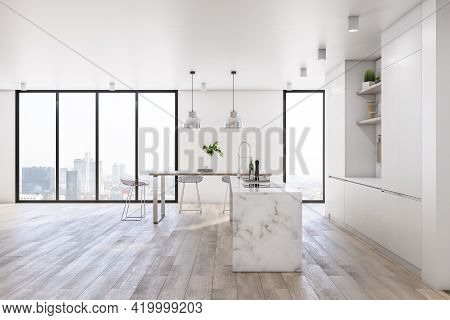 Modern Spacious Kitchen Room With Marble Tabletop, City View From Big Windows, Light Walls And Ceili