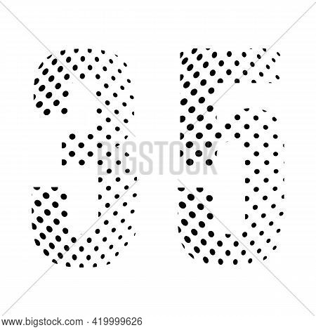 Number Thirty-five, 35 In Halftone. Dotted Illustration Isolated On A White Background. Vector Illus