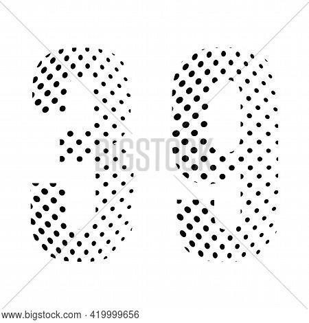 Number Thirty-nine, 39 In Halftone. Dotted Illustration Isolated On A White Background. Vector Illus